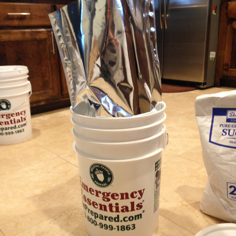 Insert the Mylar Bag into the Food Grade Bucket & DIY Long Term Food Storage Using Food Grade Buckets Mylar Bags ...