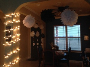 Lights Off photo to show how great the tissue paper pom poms accented the room.