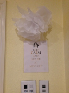 Saw a sign with the wording on pinterest and decided to use MS word to make my own! Found the cute pic online. I added a tissue paper flower so it did not look so lonely.