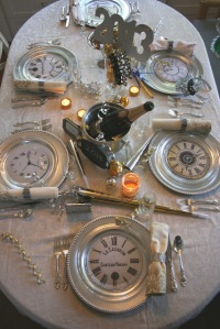 Love the place setting idea, but since we did appetizer only, I made clocks smaller and used them everywhere.