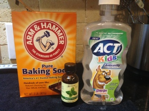 Mouthwash Ingredients:  Baking Soda, Water, Container, Optional Peppermint Oil