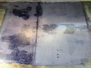 The test patch of one Corroseal application. Still wet, but the rust started to turn black just shortly after applying!