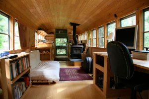 Inside of a Skoolie Conversion