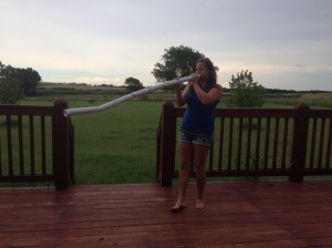 Me blowing my digeridoo...or trying to. I need a lot of practice!